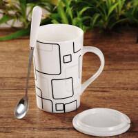 创意陶瓷杯子大容量马克杯个性简约情侣水杯带盖勺咖啡杯喝水茶杯