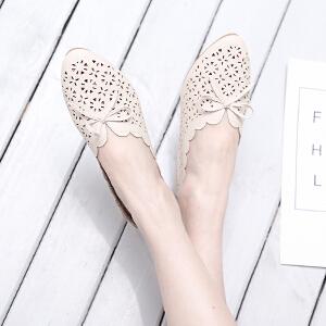 阿么2017夏季新款时尚镂空舒适平底鞋甜美蝴蝶结学院风低跟鞋子女