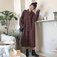 春装新款韩版长款格子衬衣宽松显瘦衬衫女连衣裙长袖过膝打底长裙