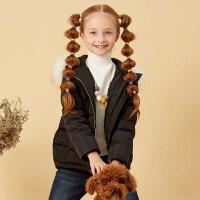 美特斯邦威旗下Moomoo童装儿童时尚字母印花保暖短款连帽拉链女童羽绒服冬