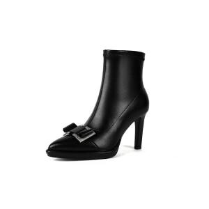 WARORWAR法国新品YG11-6089冬季欧美反绒内增高坡跟低跟女士靴子马丁靴短靴