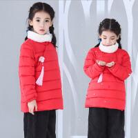 女童冬加厚民族风手塞棉棉衣围脖两件套中小童改良中国风唐装
