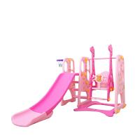 ?儿童室内滑梯秋千组合 家用单人多功能宝宝滑滑梯幼儿三合一玩具? 22_豪华典藏版粉色三合一+球池+球 加大加高