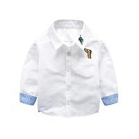 儿童长袖衬衣春装 男童白色翻领上衣小童装 宝宝衬衫春秋新款yly,,
