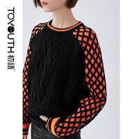 【2件3折 叠券预估价:111.9元】初语冬款新装 时尚个性撞色插肩袖复古绞花套头毛衣