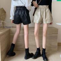 秋季黑色花苞高腰PU皮短�女2020新款秋款外穿��松�腿皮�送腰��