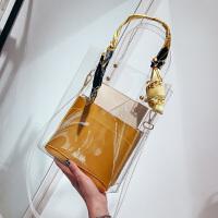 韩版丝带包包女2018夏季新款手提单肩包透明百搭斜挎包大包子母包