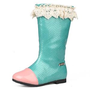 比比我春秋款儿童中筒靴女童真皮韩版时尚靴子