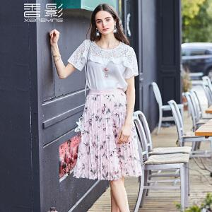 雪纺衫女短袖 香影2017夏装新款镂空蕾丝拼接上衣荷叶边修身小衫