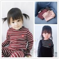爱心刺绣条纹T恤 柔软薄款春夏装女童宝宝纯棉坑条木耳边打底衫