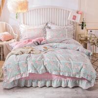 伊迪梦家纺 全棉床裙韩版四件套 纯棉荷叶花边床罩式大床单款式床上用品1.5/1.8m米床OK501