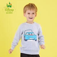 【2件3折到手价:61.5】迪士尼Disney童装男童针织衫纯棉宝宝毛衣秋季新款儿童上衣173S936