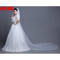 2018新品春夏新款新娘结婚蕾丝披肩婚纱礼服旗袍伴娘白色红色薄款雪纺斗篷 白色 1头纱+披肩