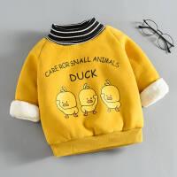 男童女童冬装卫衣小黄鸭2019宝宝儿童加绒加厚打底衫上衣童装