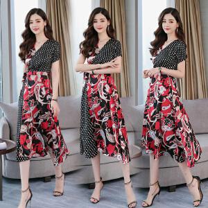 2018夏季新款女装韩版时尚V领中长款过膝雪纺连衣裙女显瘦气质