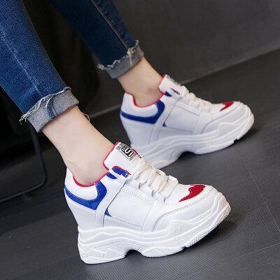 内增高小白鞋女秋季2018新款网红单鞋韩版百搭休闲运动老爹鞋8CM