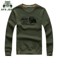 Afs jeep长袖t恤战地吉普春秋新款纯色圆领男士长袖POLO衫7080