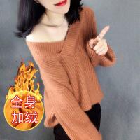 №【2019新款】冬天美女穿的毛衣女套头V领2018新款冬装韩版学生宽松针织羊毛衫