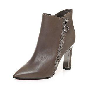 Belle/百丽冬季专柜同款小牛皮女短靴BLI42DD6