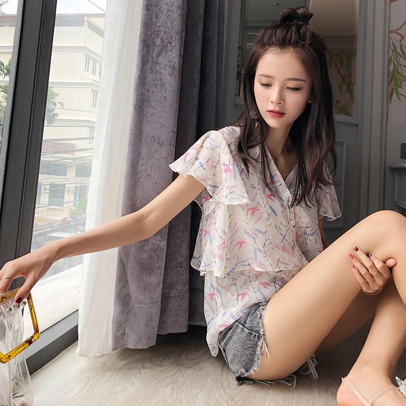 谜秀雪纺衫女短袖2018夏装新款韩版修身V领碎花小清新衬衣上衣潮