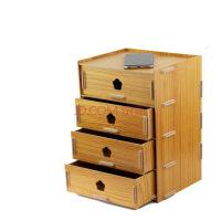 (sitoo)大政4层抽屉式木质桌面化妆品杂物文具收纳储物盒柜大号D021