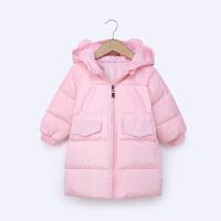 儿童羽绒服男女童宝宝中长款中小童兔耳朵连帽保暖外套冬