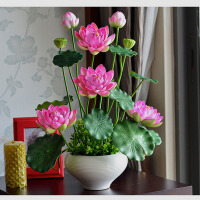 仿真花荷花盆栽供佛莲花套装家居客厅佛台花瓶花艺摆件