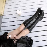 马丁靴女瘦瘦靴长筒靴不过膝长靴女2018新款系带中筒靴女绑带皮靴SN0365 34 现货出售
