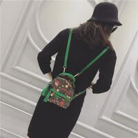 迷你包包2018新款潮女士双肩包韩版百搭复古个性甜美mini小背包潮SN3415 小号绿色 可放下手机