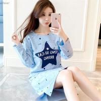 韩版睡裙女秋冬季甜美可爱长袖睡衣秋天清新学生可外穿家居服