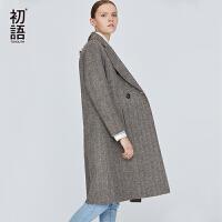 初语中长款羊毛双面尼外套韩版宽松女春春新款呢子厚大衣潮