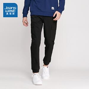 真维斯男装 2018春装   微弹斜纹布慢跑简约休闲裤