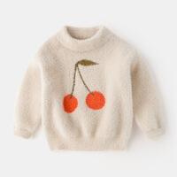 女童保暖毛衣2018新款女宝宝加厚加绒冬季套头韩版洋气秋冬打底衫