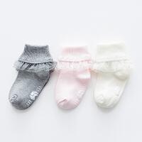 3双宝宝袜子 0-6-个月新生幼儿婴儿袜纯无骨蕾丝花边儿童棉袜子 G3(三双精装)