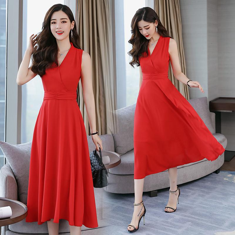 裙子女夏装2018新款无袖V领长裙韩版高腰修身收腰显瘦红色连衣裙