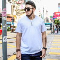 大码男装短袖男宽松胖子夏季休闲纯棉印花加肥加大码半袖T恤男潮 白色 v领