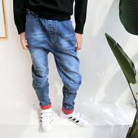 男童牛仔裤秋季潮新款韩版儿童哈伦裤中大童薄款长裤宽松休闲