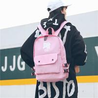 港风双肩包日式简约男士书包女学生韩版校园大容量旅行电脑背包潮 粉色