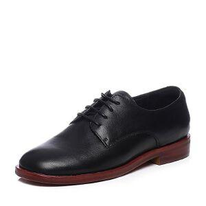 Teenmix/天美意2018春专柜同款黑色牛皮革简约率性方跟女单鞋AR612AM8