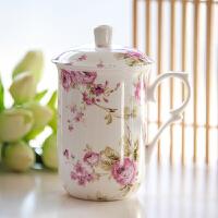 骨瓷盖杯陶瓷杯子带盖水杯早餐简约个性马克杯大容量办公室茶杯
