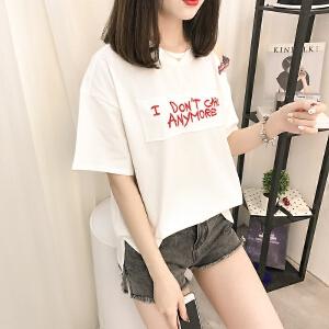 夏季新款t恤女半袖短袖韩版简约女装学生显瘦打底衫上衣潮