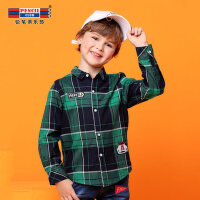 铅笔俱乐部童装2018秋冬季男童衬衫中大童格子衬衣儿童长袖衬衫