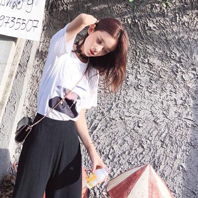 谜秀T恤女学生2018夏装新款韩版宽松休闲半袖体恤ins超火的上衣潮