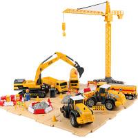 大吊车儿童模型工程车套装大号男孩吊车压路机挖土机挖掘机玩具车 德立信工程礼盒装 (店长)