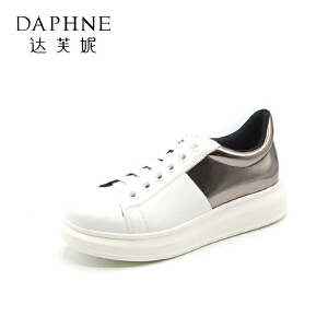 Daphne/达芙妮 秋圆头平底休闲舒适时尚拼色学生单鞋女
