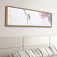 新中式装饰画床头简约现代客厅墙画挂画壁画横幅水墨荷花鸟雀 150*50 木色框 单幅
