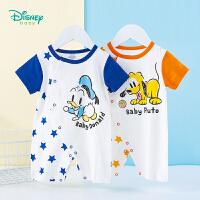 迪士尼Disney童装 男宝宝侧开连体衣卡通满印拼接爬服夏季新品婴儿衣服全开扣哈衣