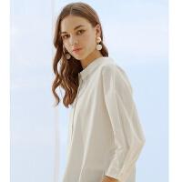 【1件3折到手价:134.7,4月10日0点】MECITY女装夏季新款设计感很仙的白色长袖衬衫