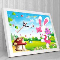 家居家居5d钻石画时钟十字绣钟表客厅卧室卡通可爱兔新款点钻贴钻绣砖石秀 图片色