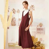 【全场2件2.5折,到手价:132.3】粘纤MECITY女装性感深V系带中长款吊带气质仙女连衣裙